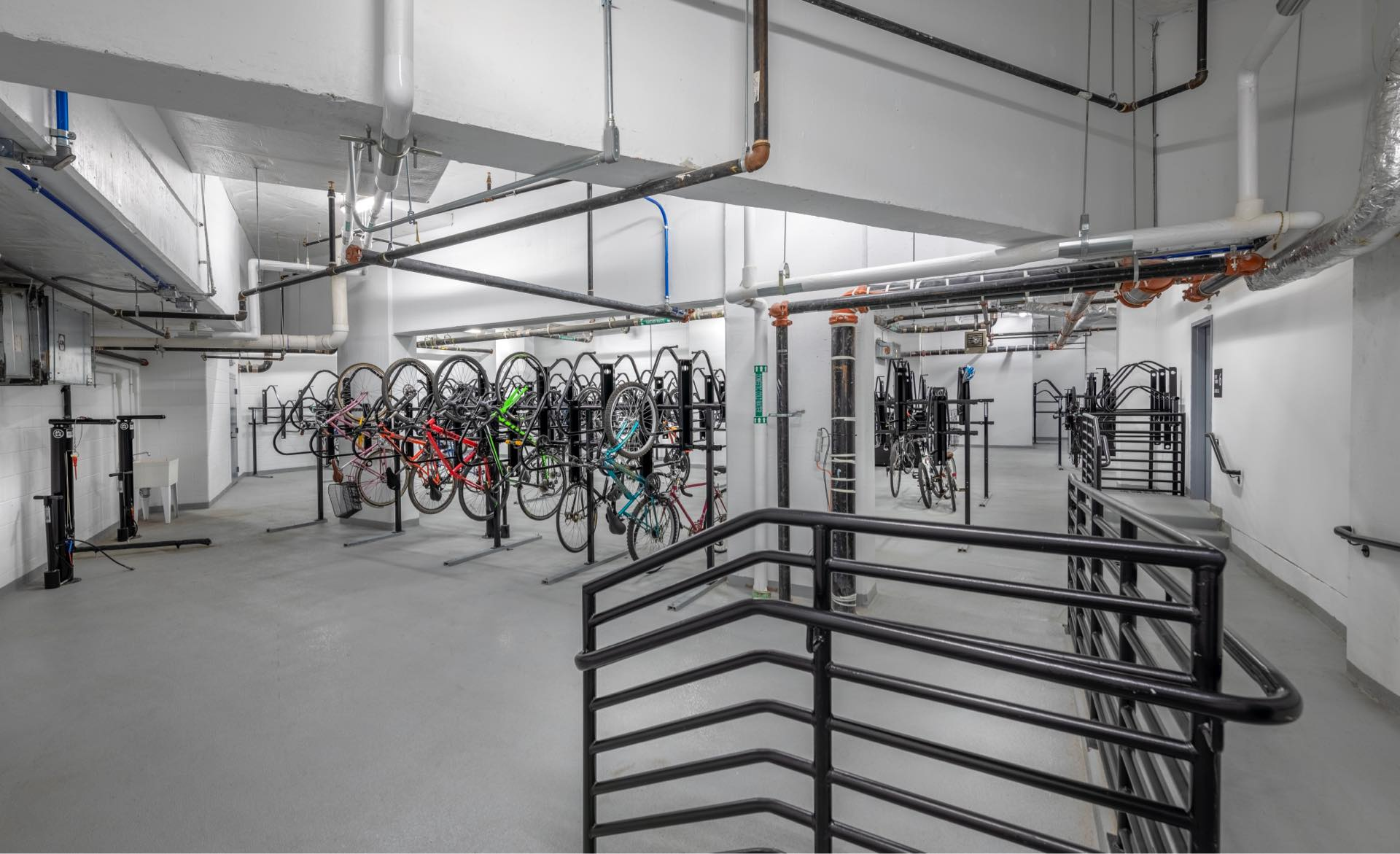 Complimentary bicycles, bicycle storage, and repair area.
