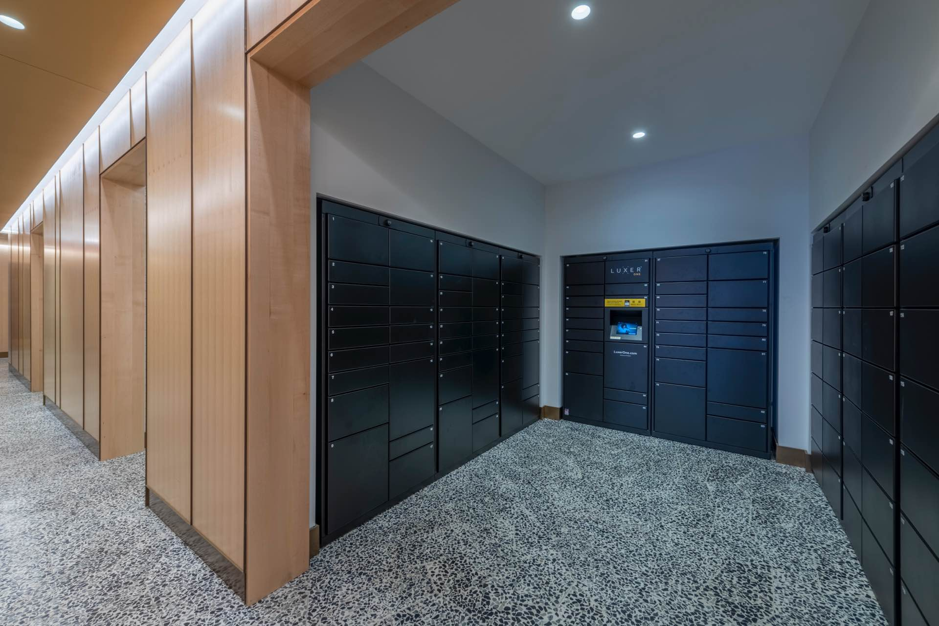 Package acceptance services with oversized packages and cold food storage available.
